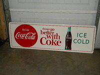 $OLD Coca Cola Tin Sign w/ bottle & Disc