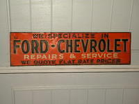 SOLD: Ford Chevrolet Early Tin Tacker Sign