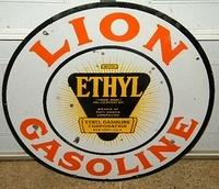 SOLD: Lion Ethyl Gasoline Double Sided Porcelain Sign