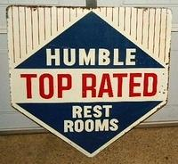 SOLD: Humble Clean Restrooms Diecut Dbl Sided Tin Sign