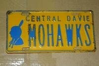 $OLD Central Davie Mohawks License Plate w/ Indian Head Graphics