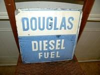 $OLD Douglas Diesel Fuel Tin Pump Plate Sign