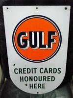 $OLD - Gulf Credit Cards Oddball DSP Porcelain Sign