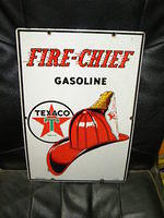 $OLD Texaco Fire Chief 12 x 18 PPP Porcelain Pump Sign