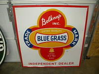 $OLD Belknap Blue Grass Embossed Tin Sign