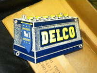 $OLD Delco Diecut Battery (Mini - UNITED MOTORS SERVICE) NOS w/ Box/Hanger