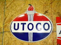 $OLD Utoco PPP Embossed Porcelain Pump Plate Sign