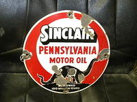 $OLD Sinclair 12 inch Porcelain Sign w/ Dino Pennsylvania Motor Oil