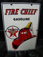 $OLD 8x12 Texaco Fire Chief PPP Porcelain Pump Plate Sign