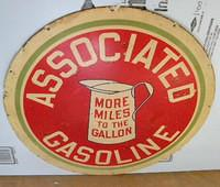 $OLD Associated Gasoline 30 Inch DSP Porcelain Sign