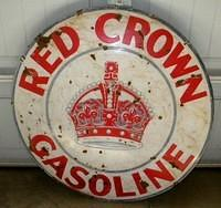 $OLD Red Crown Gasoline DSP Porcelain Sign 42 Inch