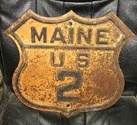 $OLD Maine US 2 Route Shield Highway Sign