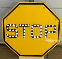 $OLD Porcelain STOP Sign w/ Reflectors Beautiful Sign