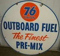 $OLD Union 76 Outboard Fuel DSP Porcelain 42 Inch Gas Station Sign