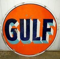 $OLD  Gulf Porcelain DSP 42 Inch Sign